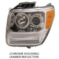 Фара левая+правая (комплект) тюнинг с светящимся ободком,диодным указателем поворота (EAGLE EYES) внутри хром