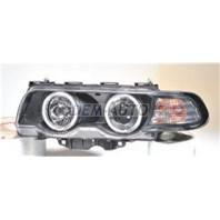 Фара левая+правая (КОМПЛЕКТ) тюнинг (КСЕНОН)линзованная с 2 светящимися ободками , литой указатель поворота с регулирующим мотором (SONAR) внутри черная