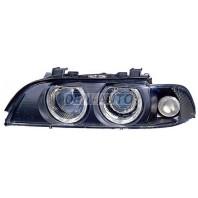 Фара левая+правая (КОМПЛЕКТ) тюнинг с светящимся ободком с белым указателем поворота с регулирующим мотором внутри черная