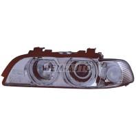 Фара левая тюнинг с светящимся ободком с белым указателем поворота с регулирующим мотором внутри хромированная