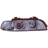 Фара правая тюнинг с светящимся ободком с белым указателем поворота с регулирующим мотором внутри хромированная