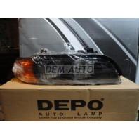 Фара правая (DEPO) линзованная с регулировочным мотором указатель поворота желтый {HB3/HB4}