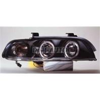Фара левая+правая (КОМПЛЕКТ) тюнинг линзованая с светящимся ободком, прозрачнаяс регулирующим мотором (SONAR) внутри черная
