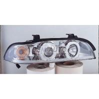 Фара левая+правая (КОМПЛЕКТ) тюнинг линзованая с светящимся ободком, прозрачнаяс регулирующим мотором (SONAR) внутри хромированная