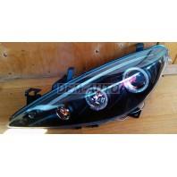 Фара левая+правая (КОМПЛЕКТ) тюнинг линзованная с светящимся ободком с регулировочным мотором(JUNYAN)внутри черная