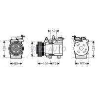 {HCC) (Sportage 04-} Компрессор кондиционера 2.7 (бензин) (см.каталог) (AVA)