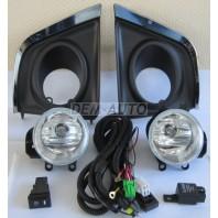 Фара противотуманная левая+правая (комплект) с проводкой , кнопкой , решетками бампера хромированными , пластиковая
