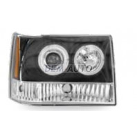 Gr cherokee Фара левая+правая (комплект) тюнинг линзованная , литой с указателем поворота внутри черная