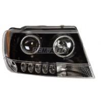 Gr cherokee Фара левая+правая (комплект) тюнинг линзованная с 2 светящ ободк с указателем поворота диодный без корректор (EAGLE EYES) внутри черная