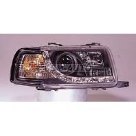 Audi 80 Фара левая+правая (комплект) тюнинг линзованная (DEVIL EYES) , литой указатель поворота(SONAR)внутри черная