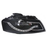 Audi a3 Фара левая+правая (комплект) тюнинг линзованная (DEVIL EYES) с регулирующим мотором (EAGLE EYES) внутри черная