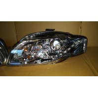 Audi a4  Фара левая+правая (комплект) тюнинг(DEVIL EYES)линзованная без корректора (EAGLE EYES) внутри хромированная