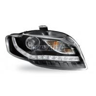 Audi a4 Фара левая+правая (комплект) тюнинг(DEVIL EYES)линзованная (JUNYAN)внутри черная