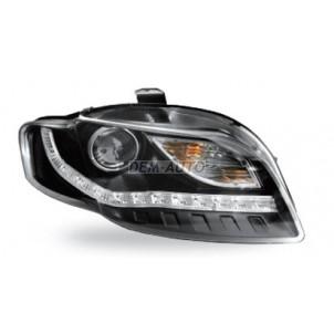 Audi a4  Фара левая+правая (комплект) тюнинг(DEVIL EYES)линзованная (JUNYAN)внутри черная для Audi A4 - B7