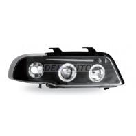 Audi a4 Фара левая+правая (КОМПЛЕКТ) тюнинг линзованная , с светящимися ободками , литой указатель поворота (JUNYAN)внутри черная