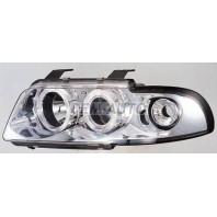 Audi a4 Фара левая+правая (КОМПЛЕКТ) тюнинг линзованнаяс 2 светящимися ободками , литой указатель поворота (SONAR) внутри хромированная