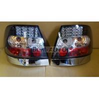 Audi a4 { Фонарь задний внешний левый+правый (КОМПЛЕКТ) тюнинг хрустальный с диодами (SONAR)внутри хромированный-черный