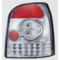 Audi a4 { Фонарь задний внешний левый+правый (комплект) (универсал) тюнинг хрустальный с диодами (SONAR)внутри хром{с сопротивлением}
