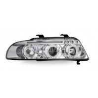 Audi a4 Фара левая+правая (КОМПЛЕКТ) тюнинг линзованнаяс светящимся ободком (JUNYAN) внутри хромированная