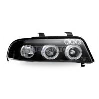 Audi a4 Фара левая+правая (КОМПЛЕКТ) тюнинг линзованная с светящимся ободком (JUNYAN) внутри черная
