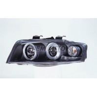 Audi a4  Фара левая+правая (КОМПЛЕКТ) тюнинг линзованнаяс 2 светящимися ободками (SONAR) внутри черная