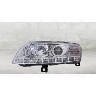 Audi a6  Фара левая+правая (комплект) тюнинг (DEVIL EYES) линзованная без корректора (EAGLE EYES) внутри хром