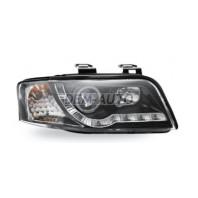 Audi a6 Фара левая+правая (комплект) тюнинг линзованная (DEVIL EYES) с светящимся ободком (JUNYAN) внутри черная