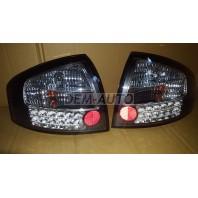 Audi a6 Фонарь задний внешний левый+правый (КОМПЛЕКТ) тюнинг (СЕДАН) прозрачный с диодным стоп сигналом (SONAR) внутри черно-хромированный