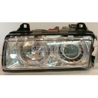 E36 Фара левая+правая (КОМПЛЕКТ) тюнинг прозрачная с светящимися ободками внутри хромированная