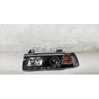 E36 Фара левая+правая (КОМПЛЕКТ) тюнинг прозрачная диодная с светящимся ободком,литой указатель поворота (SONAR) (КУПЕ) внутри черная