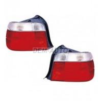 E36 Фонарь задний внешний левый+правый (КОМПЛЕКТ)(УНИВЕРСАЛ) тюнинг прозрачный хрустальный красно-белый