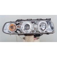 E38 Фара левая+правая (КОМПЛЕКТ) тюнинг линзованная с 2 светящимися ободками , литой указатель поворота (SONAR) внутри хромированная