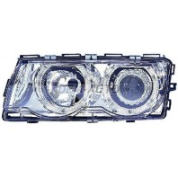 E38 Фара левая+правая (КОМПЛЕКТ) с регулирующим мотором тюнинг линзованная с 2 светящимися ободками внутри хромированная