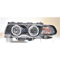 E38 Фара левая+правая (КОМПЛЕКТ) тюнинг (КСЕНОН)линзованная с 2 светящимися ободками , литой указатель поворота с регулирующим мотором (SONAR) внутри черная