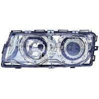 Фара+указатель поворота левая+правая (КОМПЛЕКТ) с регулирующим мотором тюнинг линзованная с 2 светящимися ободками внутри хромированная