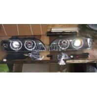 E39  Фара левая+правая (КОМПЛЕКТ) тюнинг (КСЕНОН) с светящимся ободком с регулирующим мотором хрустальный указатель поворота внутри черная