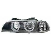 E39  Фара левая+правая (КОМПЛЕКТ) тюнинг с светящимся ободком с диодным ближним светом с белым указателем поворота внутри черная