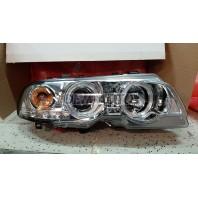 E46 Фара левая+правая (КОМПЛЕКТ) тюнинг линзованная с регулировочным мотором с 2 светящимися ободками,литым указателем поворота(SONAR)внутри хром КУПЕ