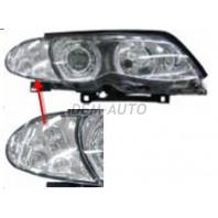 E46 Фара левая+правая (комплект) тюнинг линзованная с светящимся ободком с диодным указателем поворота с регулировочным мотором внутри хром