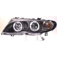 E46 Фара левая+правая (комплект) тюнинг линзованная с 2 светящимися ободками (SONAR) внутри черная