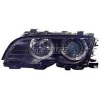 E46  Фара левая+правая (КОМПЛЕКТ) с светящимся ободком с регулирующим мотором внутри черная