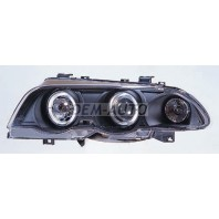 E46 Фара левая+правая (комплект) тюнинг линзованная с 2 светящимися ободками , литой указатель поворота (SONAR) внутри черная