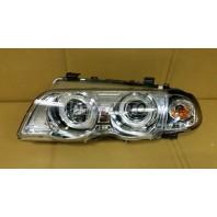 E46  Фара левая+правая (комплект) тюнинг линзованная с 2 светящимися ободками , литой указатель поворота с регулировочным мотором (SONAR) внутри хром