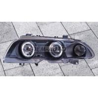E46  Фара левая+правая (комплект) тюнинг линзованная с 2 светящимися ободками , литой указатель поворота с регулировочным мотором (SONAR) внутри черная