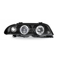 E46 Фара левая+правая (комплект) тюнинг линзованная , с светящимся ободком литой указатель поворота (JUNYAN) внутри черная