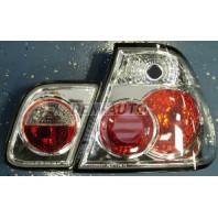 E46  Фонарь задний внешний+внутренний левый+правый (комплект) (СЕДАН)тюнинг (LEXUS ТИП) прозрачный внутри хром
