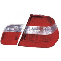 E46 Фонарь задний внешний+внутренний левый+правый (комплект) (СЕДАН)тюнинг хрустальный с диодным габаритом , стоп сигнал красно-белый