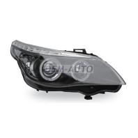 E60 Фара левая+правая (комплект) тюнинг (DEVIL EYES) с регулирующим мотором с светящимся ободком линзованная (JUNYAN) внутри черная