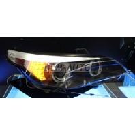 E60 Фара левая+правая (комплект) тюнинг(КСЕНОН) -D2S- с диодным указателем поворота светящимися секциями светящимся ободком линзованная(SONAR) внутри черная на BMW - E60/Е61