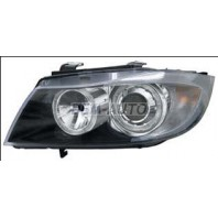 E90 Фара левая+правая (КОМПЛЕКТ)тюнинг линзованная с светящимся ободком внутри черная